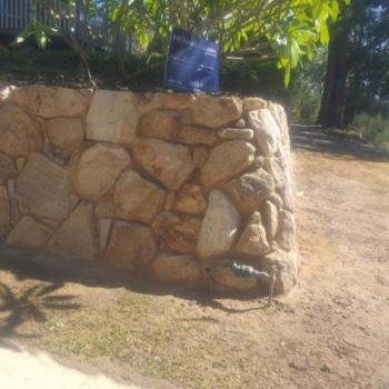 Retaining Water, Emerald Beach, Sandstone Retaining Wall